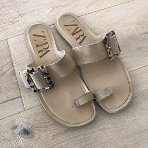 Zara Suede Sandals with Tortoise Shell Buckle